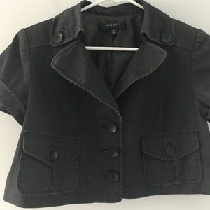 Cropped Short Sleeve Suit Jacket Size 14 Petite